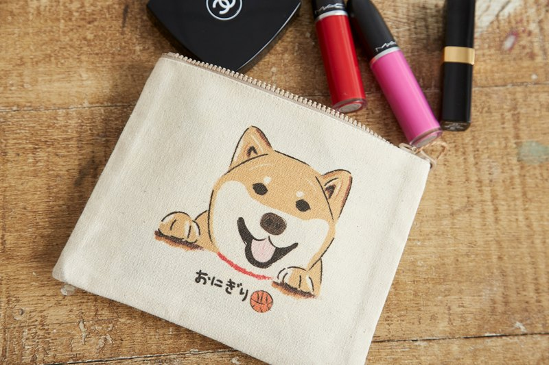 NEW! Shiba Inu Small Beauty Bag - Chestnut is Saying Hello