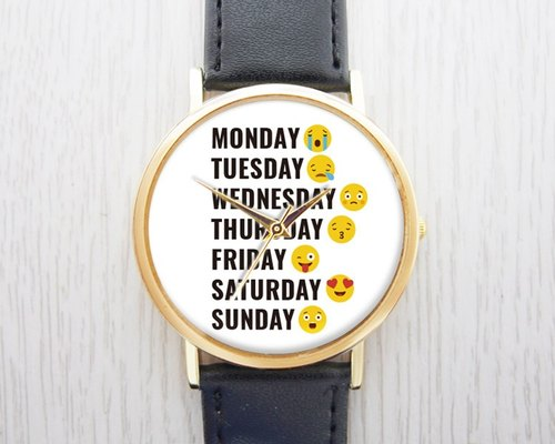 Week mood - fashion watches leather strap ︱ ︱ ︱ men and women popular to wear with the best holiday gift items