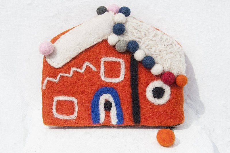 House styling bag wool felt mobile phone bag/wool felt storage bag/coin purse/ leisure card holder/wool felt wallet Christmas gift Valentine's day gift exchange gift birthday gift-Gingerbread House