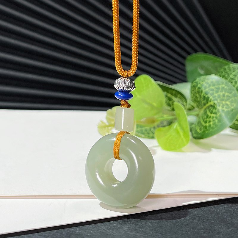 Ice bottom Hetian jade lake water green safe buckle pendant necklace with certificate for men and women natural jade pendant delicate and oily