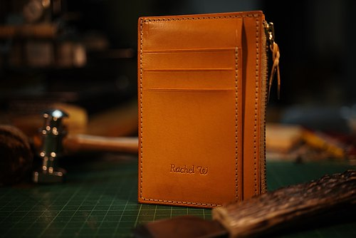 MOOS Simple Zipper Card Pack Original color Italian vegetable tanned leather