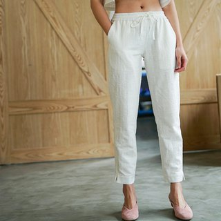 Rêveur | White is particularly good to wear cotton hemp elastic waist pants