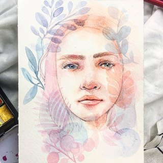 Custom watercolor portrait portrait
