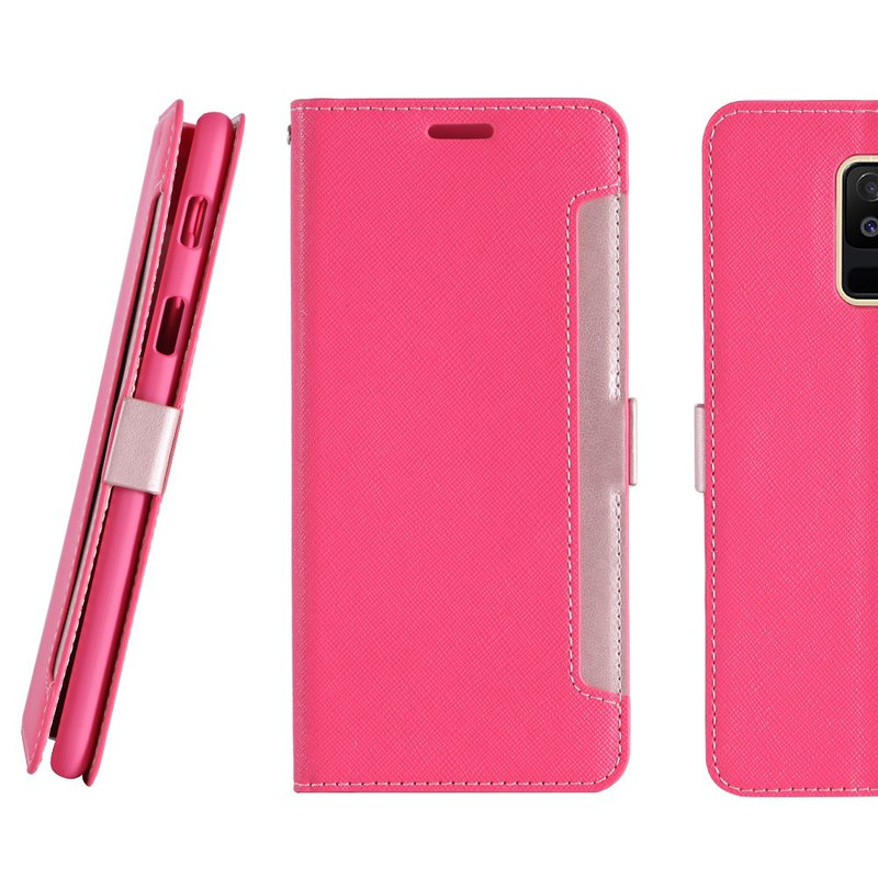 Samsung Galaxy A6+ Front Retractable Side Lift Leather Case - Peach (4716779660036)