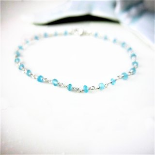 [Lalune] March Birthday Stone - Fresh and Elegant Handmade Aquamarine Silver White 925 Sterling Silver Bracelet