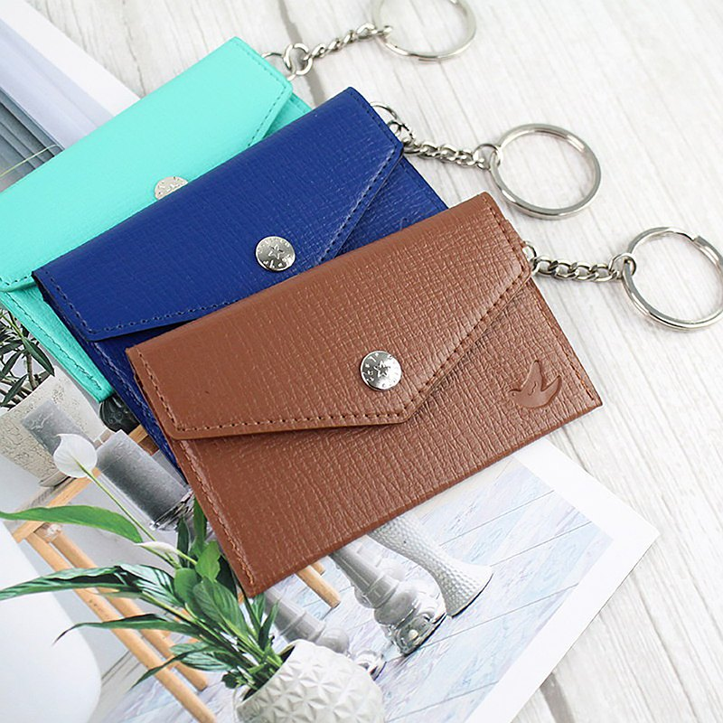 Chuyu Buttonable Business Card Holder/Ticket Card Holder/With Key Ring-The Fashion