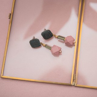 Dusty Rose and Green Geometric Corduroy Earrings
