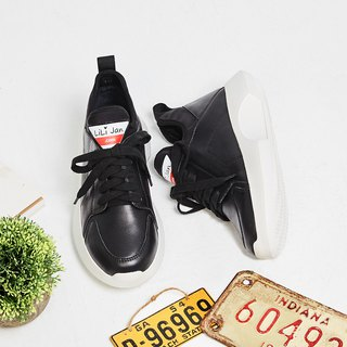 [Love's sign] elastic shoe mouth shape bottom leather casual shoes _ black humor