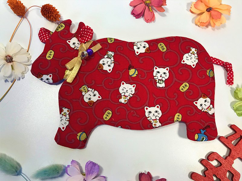 Fantasy【燙金棉布】牛轉乾坤紅包袋~招財貓