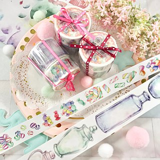 [Girl's candy jar] Glass jar and candy set of paper tape 2 into the group