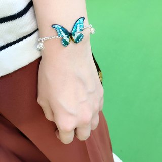 * Haku‧Neko * Hand-painted white pattern blue flash butterfly with glass balls bracelet