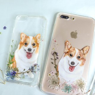 Tailor-made Hand-drawn Pet Pressed Flower Phone Case | Corgi / Dog