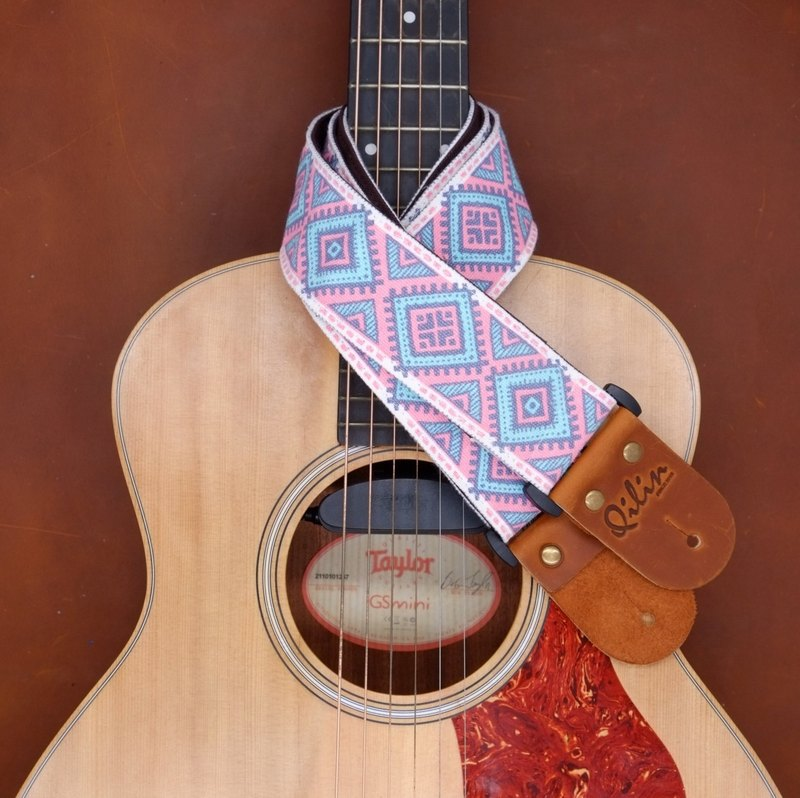 Blue&Pink Retro Style Guitarstrap