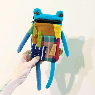 E * group A frog saliva Patchwork bag (blue-green) iphone6 ​​+. I7 + cell phone pocket