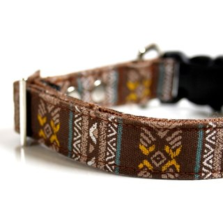Bohemian BOHO Dog Collar - turquoise blue, mustard, brown Size Small