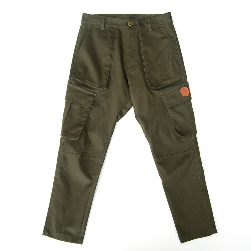 Multi-pocket imitation washed military pants