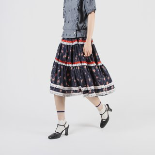 [Egg plant ancient] Anglia lace printed vintage cake skirt