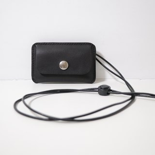 LUCE hand-sewn and vegetable tanned leather ID card holder/card holder - Black