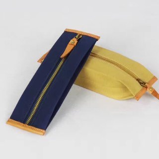 Simple Canvas Zipper Pencil Bag / Storage Bag / Cosmetic Bag - Children's Day Gift Yellow Blue