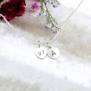 Custom double love stamping letter digit s925 sterling silver necklace Valentine