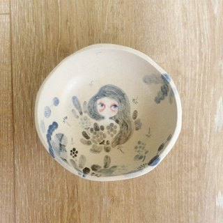 ┇eyesQu ┇ hand pinch small pottery ┇ blue and white
