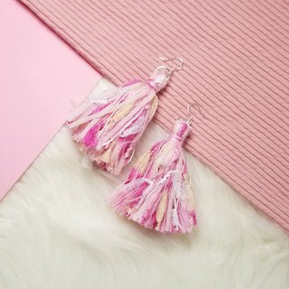 Mixed knit fringes earring (Pink/Magenta/Baby Yellow/Cream/Mesh)