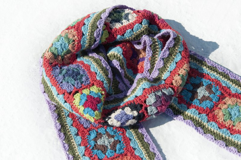 Hand Crocheted Scarf / Crocheted Scarf / Handmade Flower Woven Scarf / Cotton Woven-Taro Cake Flowers