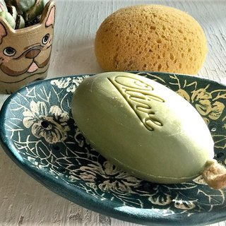 Jasmine dark green soap dish (sold out and re-made) _ pottery soap dish