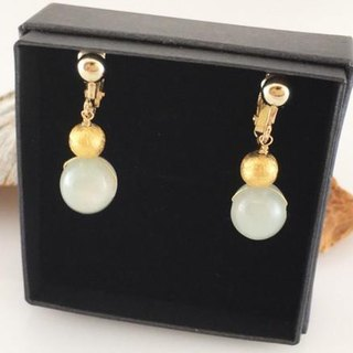Myanmar natural jade ◇ K14GF earrings / earrings 2
