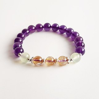 [Gems Department] Cherish natural ore Amethyst titanium crystal grape stone 925 sterling silver (exclusive custom bracelet)