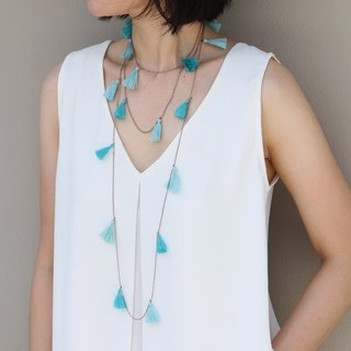 Wrap Around Necklaces Light Blue Tassels Gold Delicate Boho Bohemian