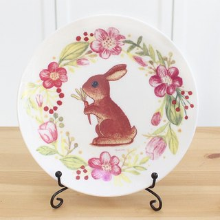 6.5 inch bone china plate - wreath Bunny rabbit cake plate can be microwave microwave SGS bone china ceramic plate