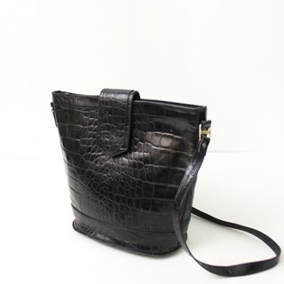 Vintage black crocodile leather backpack bucket European antique bag European Vintage Bag