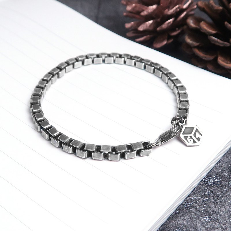 Rough female version mysterious square box bracelet (vintage black) - 925 sterling silver Venice bracelet