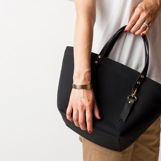 Leather handle Minimal Tote - BLACK