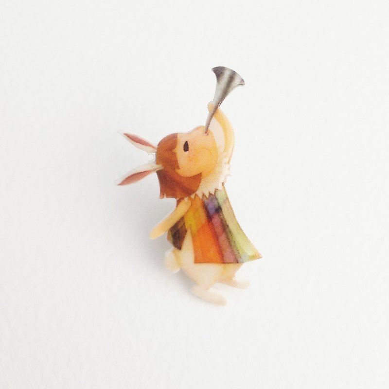 Small Q Series Handmade Goods - Cheering Rabbit Original Illustration Fairy Tale Cute Rabbit Happy Celebration / Pin Brooch Gift