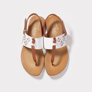 One tile - leather embroidery pinch sandals - white (new product)