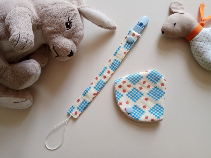 Strawberry muffin grid two in one pacifier clip < nipple boot + pacifier clip> dual function 1 into