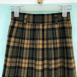Skirt / Dark Green and Light Brown Checkered Pleated Skirt