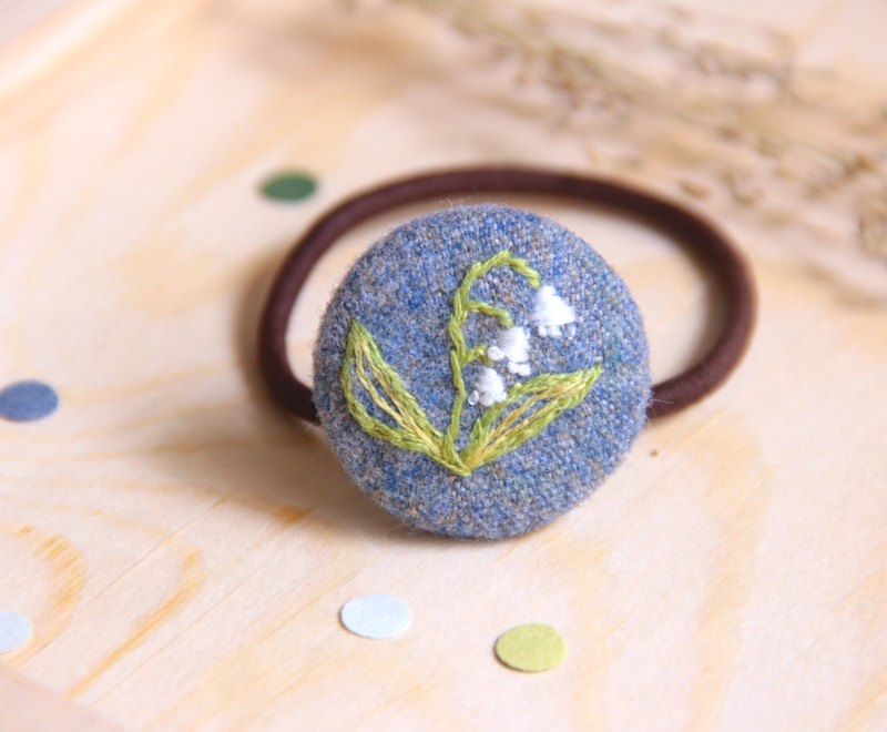 Lily of the valley plant embroidery rubber hair ring