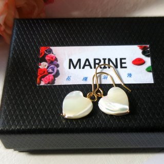 Marine 14KGF  White Heart Pearl shell  Earrings