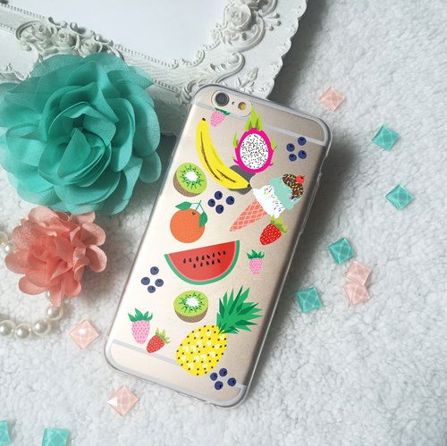 Fruit Clear TPU Silicone Phone Case Cover iphone X 8 8+ 7 7 plus Samsung S9 S8 +