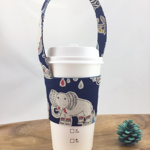Wrap wind animal night tour - elephant headed - eco-friendly cup set strap - can be fixed straw