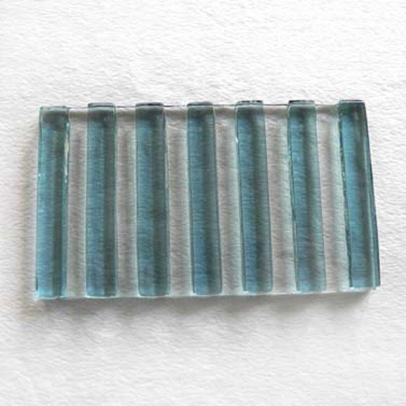 細直紋琉璃皂盤(藍)