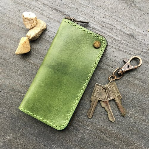Hin window leather art - handmade leather - a small wallet key bag hand-made vegetable tanned chrome tanned customized custom Wen-ching