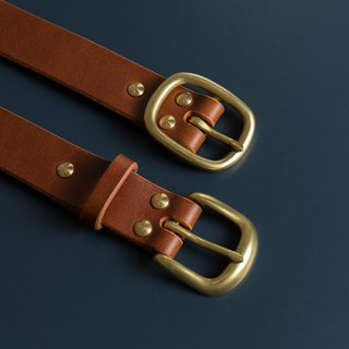 GOURTURE 3.0cm Chinese version of Italy's thick vegetable tanned handmade belt Conceria Walpier