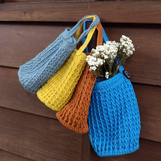 Handmade - embossed hand woven bag - beverage bag / kettle bag