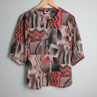 FOAK vintage fantasy planet red and green geometric shirt