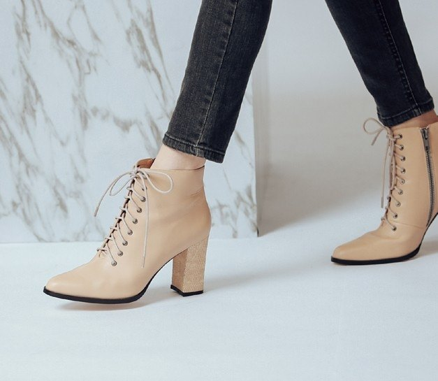 College straps with thick tube dermal ankle boots apricot
