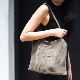 "Crochet Quote Tote Bag | ""Good day"" in Stardust"